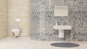 Carrelage verre salle bain.